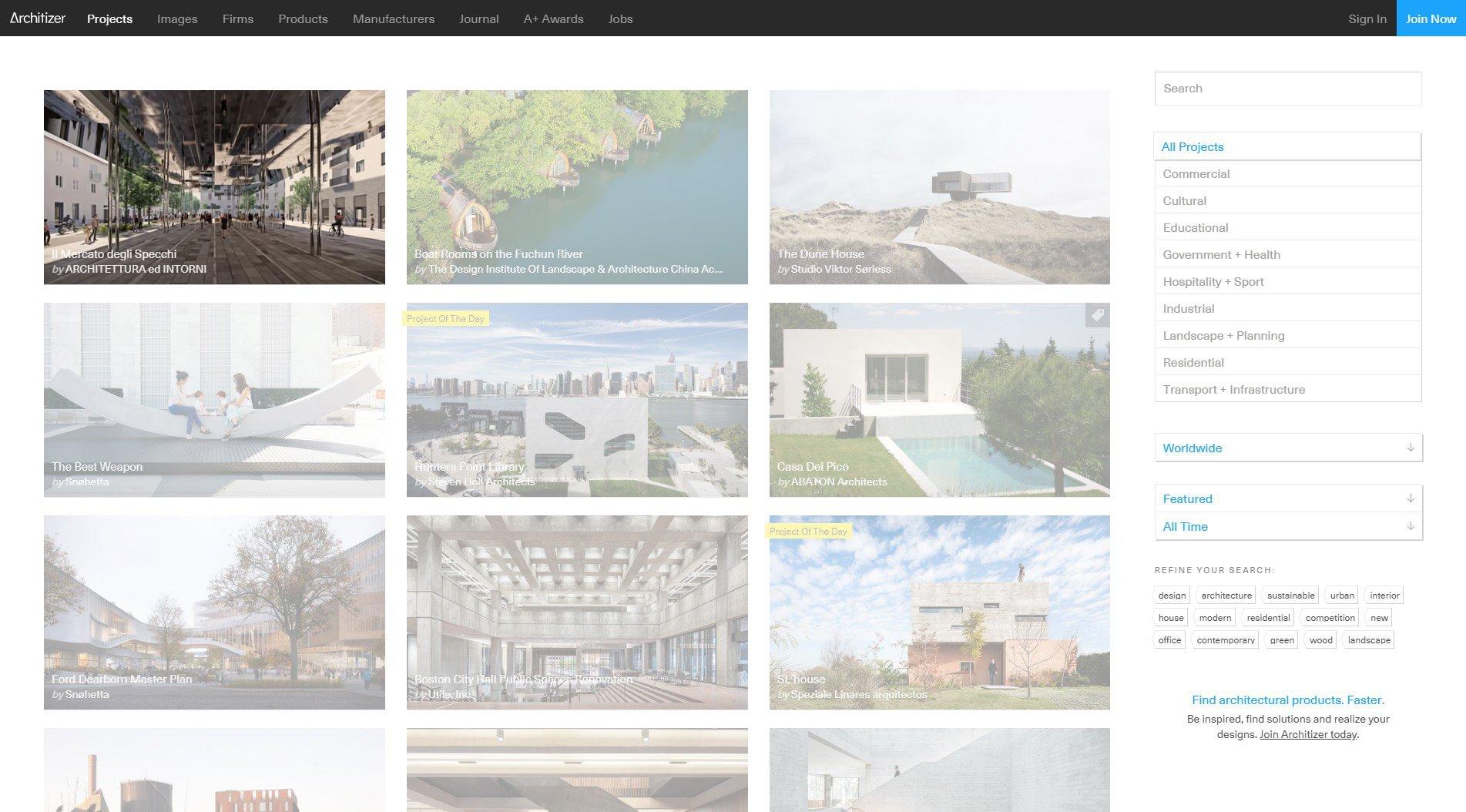 Homepage Architizer